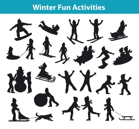 Kinderwinterspaß Aktivitäten in Eis und Schnee Silhouette Set Sammlung, Kinder Schneebälle, machen Schneemann, Schlitten fahren bergab, rollen Schnee, Skaten, Snowboarden, Skifahren, Reiten auf Schlitten gezogen von Husky-Hund und das auf Schnee liegt Palying