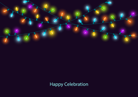 Happy Celebration Christmas New Years Birthdays and other events colorful led lights lamps hanging garland on dark background