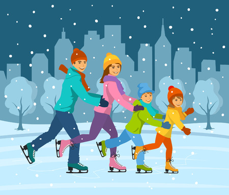 Happy smiling family, woman, man, boy and girl ice skating together on ice rink having fun. Cityscape background with buildings and snow trees