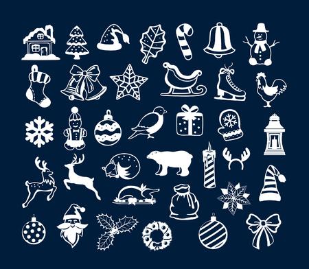 ホワイト サンタ、クリスマス ツリー、ボール、プレゼント、latern、ろうそく、動物、そり、花輪、鐘、雪だるまなどの冬メリー クリスマスと幸せ