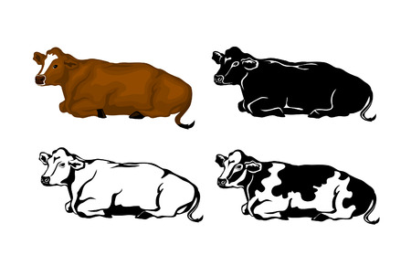 Lying Cow in brown color, silhouette, contour and patched silhouette set Illustration