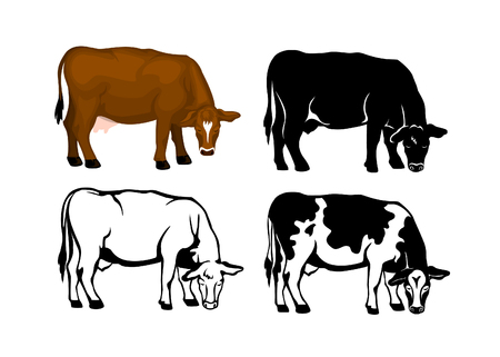 Grazing Cow in brown color, contour and patched silhouette set