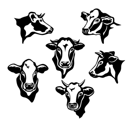 Koeien Vee Portretten silhouetten instellen Stock Illustratie