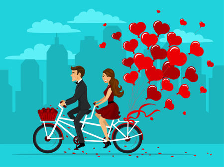 Man and woman in love riding a tandem bike with balloons as hearts. romantic date cartoon vector illustration