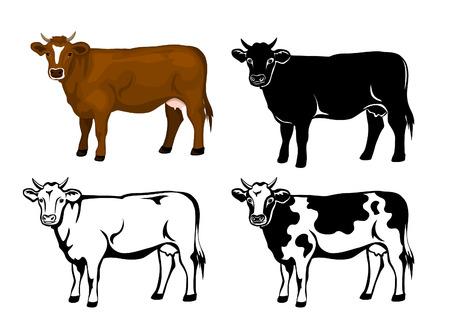 Koe in bruine kleur, silhouet, contour en patched silhouette set Stock Illustratie