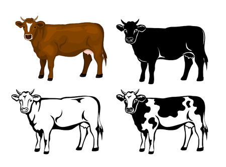 Cow in brown color, silhouette, contour and patched silhouette set
