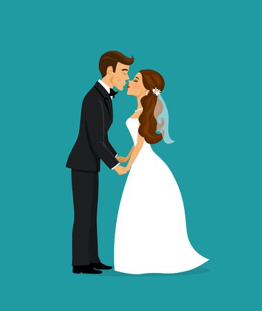 newlywed: Newlywed bride and groom kissing cartoon vector illustration