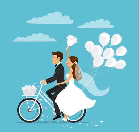 Just married happy couple bride and groom riding bicycle with balloons Vettoriali