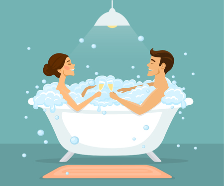 taking bath: Couple, man and woman taking bath in a vintage bathtub with bubbles, enjoying, drinking champagne Illustration