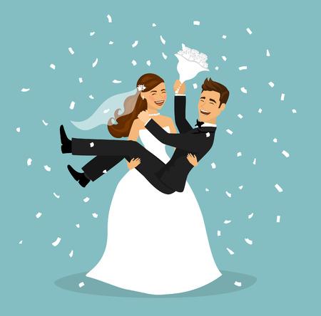 Net getrouwd stel, bruid draagt bruidegom in de armen na de huwelijksceremonie