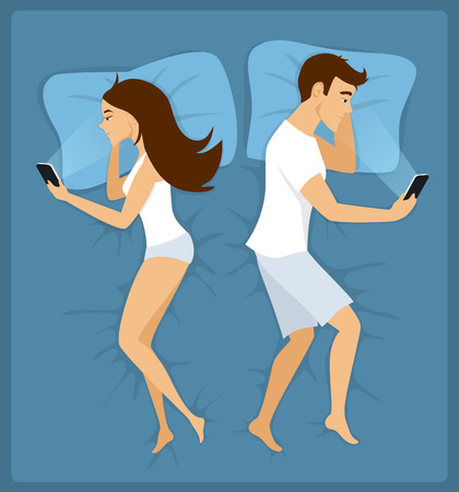 Couple, man and woman lying apart in the bed with smartphones illustration Stock Illustratie