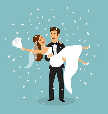 Enkel getrouwd stel, bruidegom draagt een bruid in de armen na een huwelijksceremonie