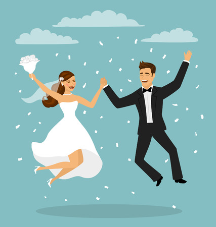 Just married funny couple, bride and groom jumping from after wedding ceremony