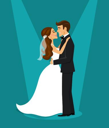 Sólo casado feliz pareja de novia y el novio abrazándose mutuamente ilustración Ilustración de vector