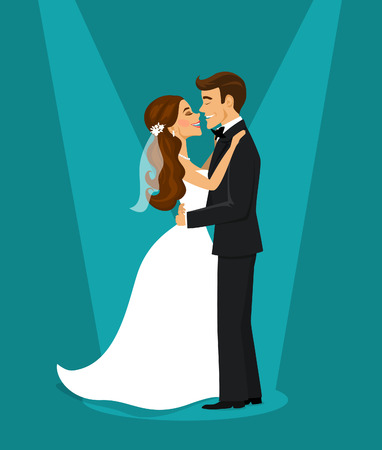 Just married happy couple bride and groom hugging each other illustration