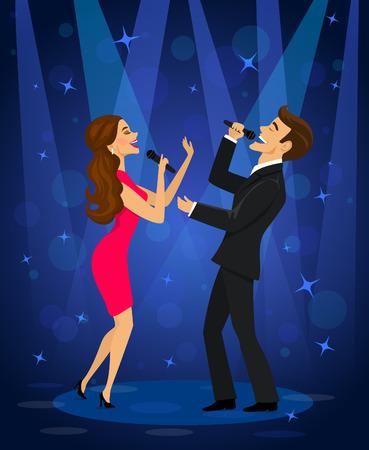 Elegante Paare, die Karaoke auf Stadium im Verein unter Scheinwerferlicht singen