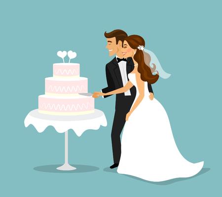 wedding cake: Newly married couple cutting wedding cake