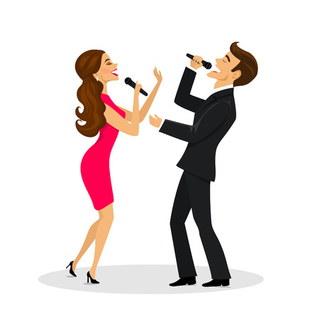 Couple, man and woman singing karaoke isolated illustration