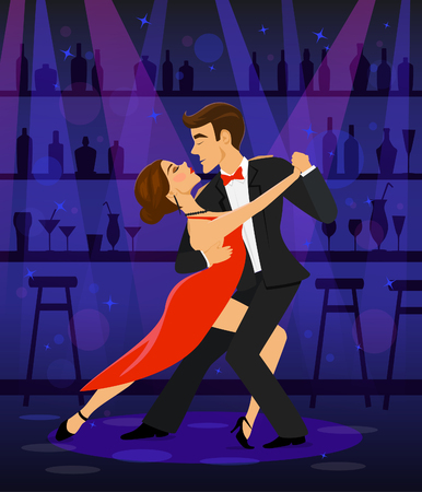 prom night: Couple dancing tango in a disco club bar under the spot lights