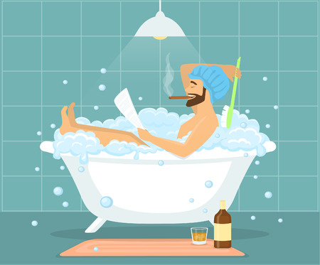 Happy funny man guy taking bath in bubble vintage bathtub, relaxing, reading newspaper, smoking cigar and drinking whiskey Vettoriali
