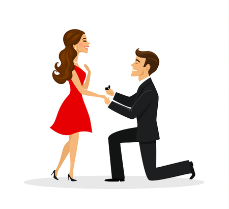 Man proposing to a woman standing on knee illustration Vectores