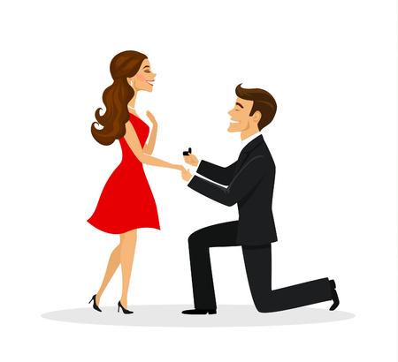 Mężczyzna proponuje kobiety pozycja na kolanowej ilustraci