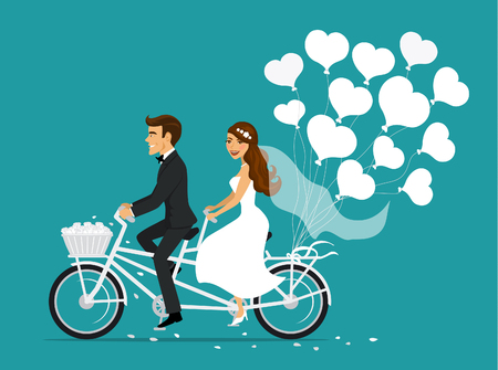 Just married couple bride and groom riding tandem bicycle 版權商用圖片 - 71547216