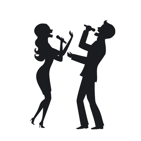 Elegant couple singing karaoke on stage silhouette illustration