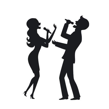 Elegant couple singing karaoke on stage silhouette illustration
