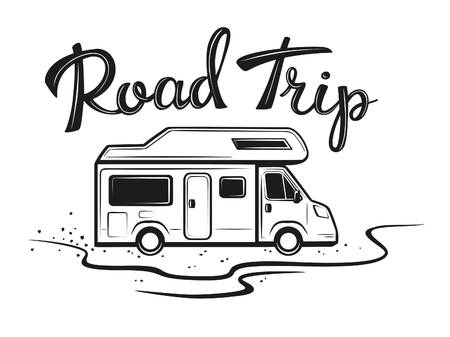 Road trip poster with camper on the way to holidays in black color with hand written text