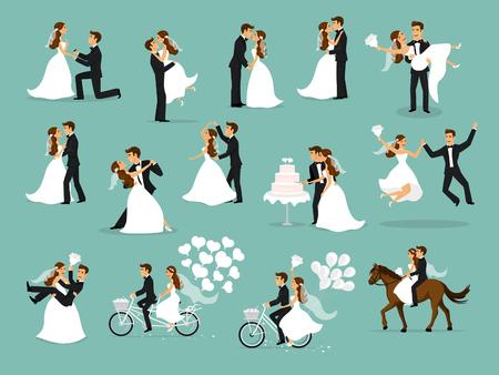 Recién casados, recién casados, novios y novios. Pareja feliz celebrando el matrimonio, bailando, besándose, abrazándose, sosteniéndose en brazos, corte la torta, montando la bici y el caballo, saltando después de la ceremonia