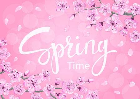 spring time background with cherry blossoms flowers branches on pink backdrop with bokeh Illustration