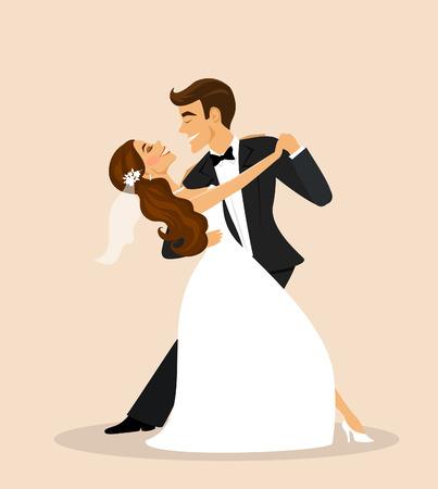 Novios bailando, la novia y el novio bailando Ilustración de vector