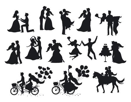 Juste marié, les mariés, les silhouettes de marié et de mariée. Couple heureux célébrant le mariage, dansant, s'embrassant, se serrant, se tenant dans les bras, coupe du gâteau, promenait le vélo et le cheval, sautait après la cérémonie Vecteurs