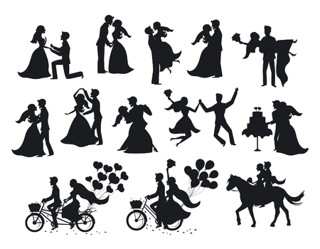 Just married , newlyweds, bride and groom  silhouettes set. Happy Couple celebrating marriage, dancing, kissing, hugging, holding each other in arms, cut cake, riding bike and horse, jumping after ceremony