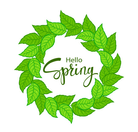 Hello Spring time wreath with green fresh leaves Illustration