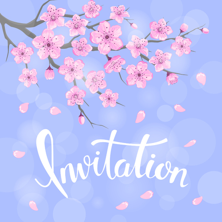 Seasons greeting background with cherry blossoms flowers branches on blue backdrop with bokeh and hand written Invitation word