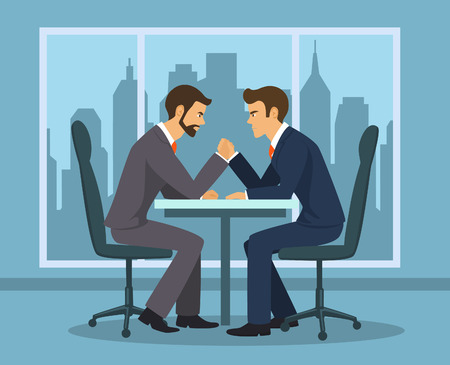 Business competition concept . Two businessman, employee arm wrestling in the office