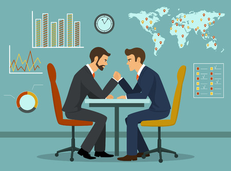 Business competition concept vector illustration. Two businessmen arm wrestling