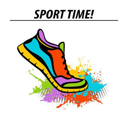 開始位置ペイント スプラッタに足を踏み入れるのスポーツ ランニング フィットネス スニーカー スポーツ時間やる気を起こさせるカラフルなバナー