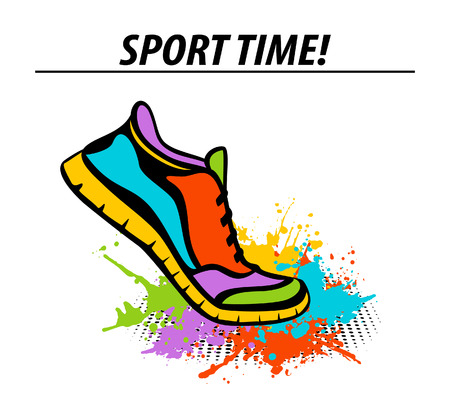Sport time motivational colorful banner with sport running fitness sneaker in start position stepping into paint splatter