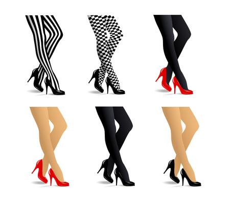 Female legs set in black and red high heel pumps and stocking : striped, checkered, black, beige, transparent