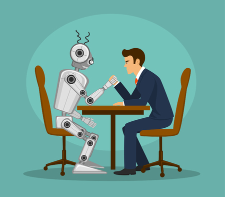 Funny robot and businessman arm wrestling, fighting . artificial intelligence vs human competition concept