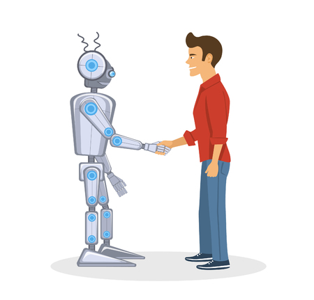 techology: Young man and robot shaking hands. Human and artificial intelligent partnership concept