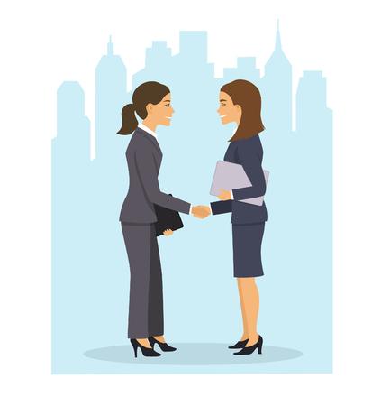 two businesswomen shaking hands Illustration