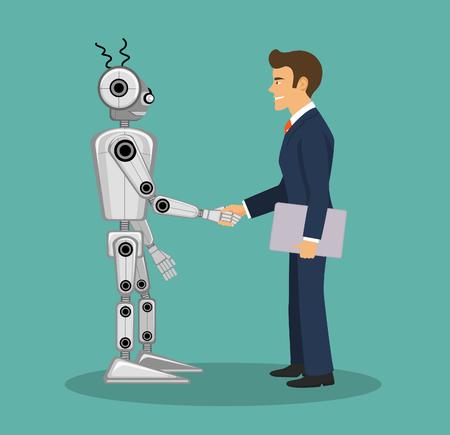 techology: Robot and businessman shaking hands. Illustration