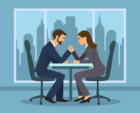 Business competition concept . Businessman and businesswoman arm wrestling in the office Ilustração