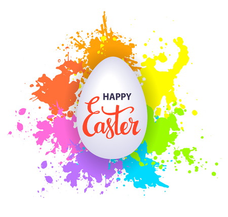 Happy easter greeting background with paint splatter texture and hand lettering text