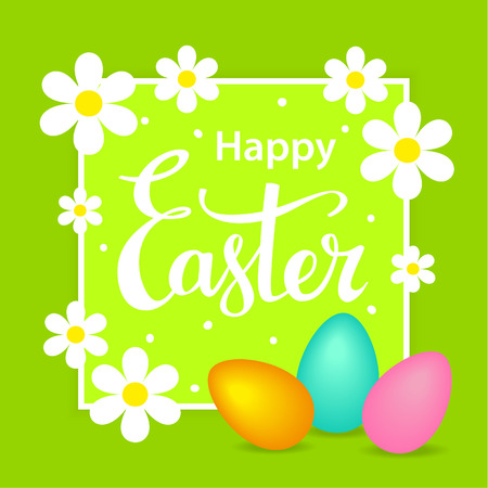 Happy easter greeting card background with flowers on a frame, eggs and hand lettering text