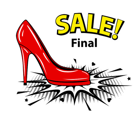 Red female pump sale banner in pop art style. Vectores